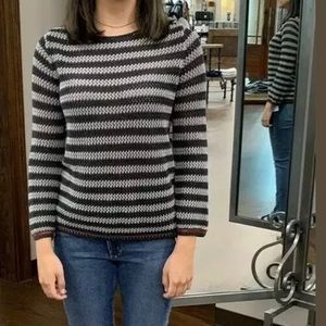 Autumn Cashmere boxy fit, striped crew sweater